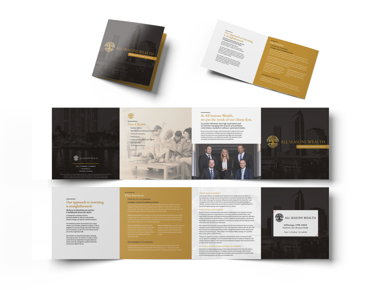 Pamphlet design with business information from All Seasons Wealth.