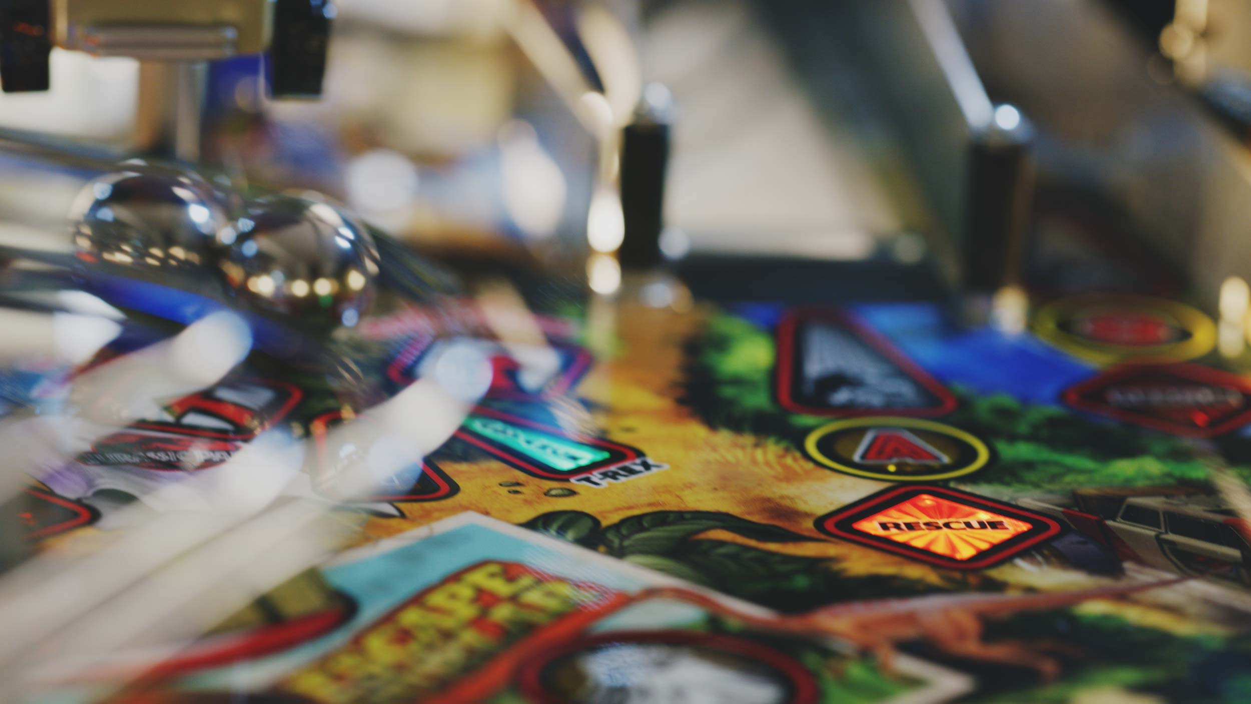 close up shot of pinball machine