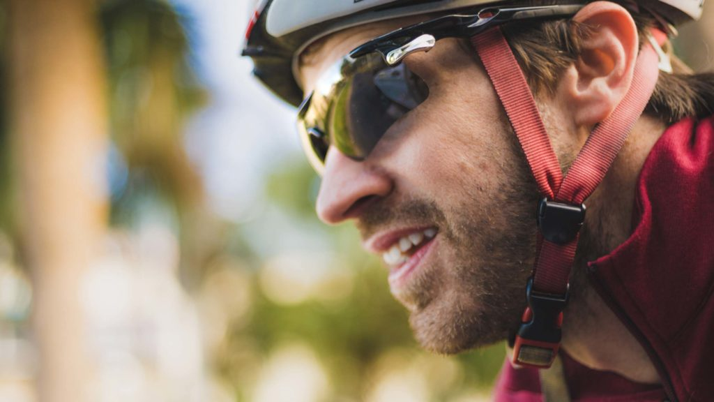 man wearing sunglasses and helmet