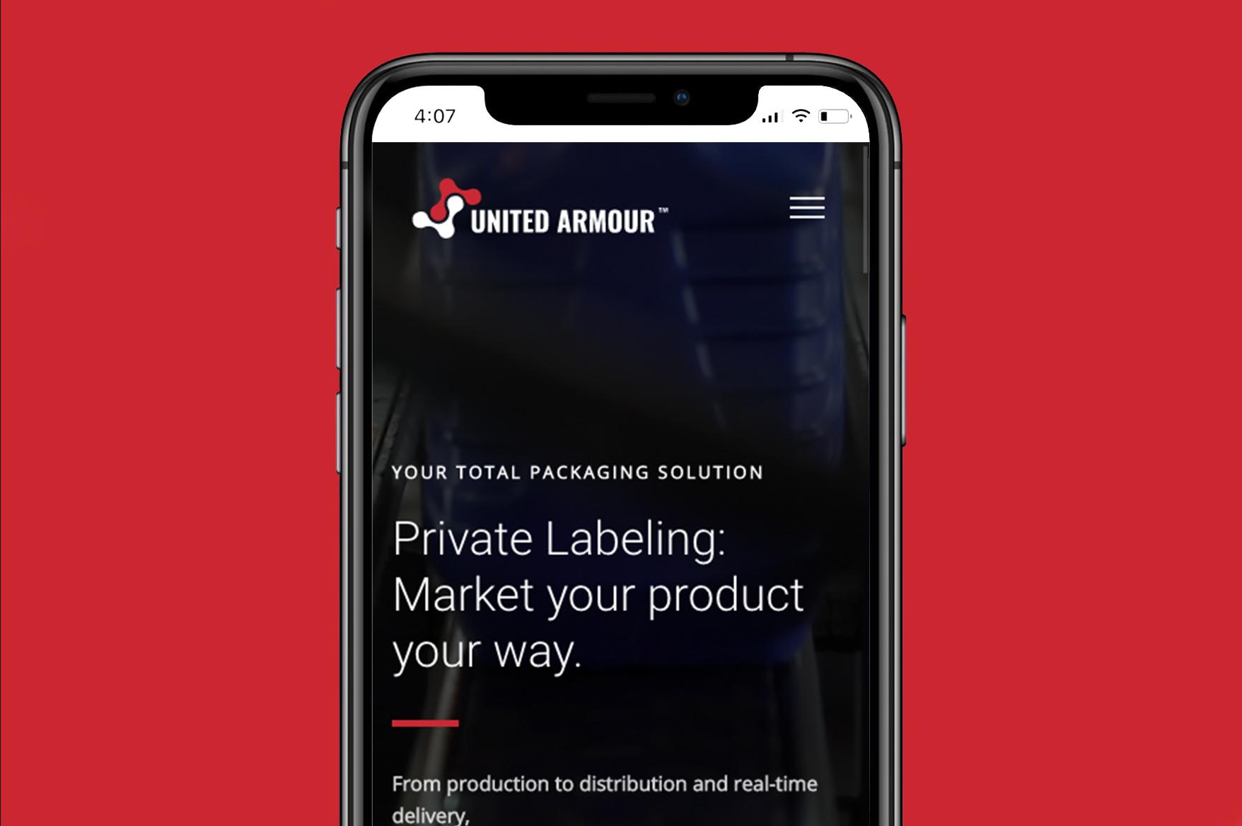 united armour mobile website mockup