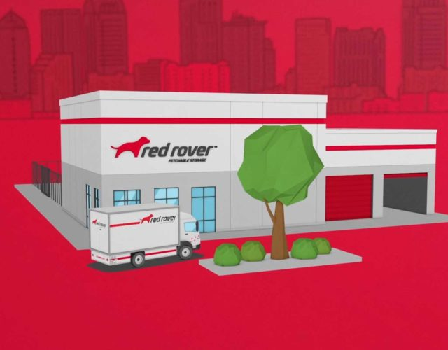Red Rover animated building and truck