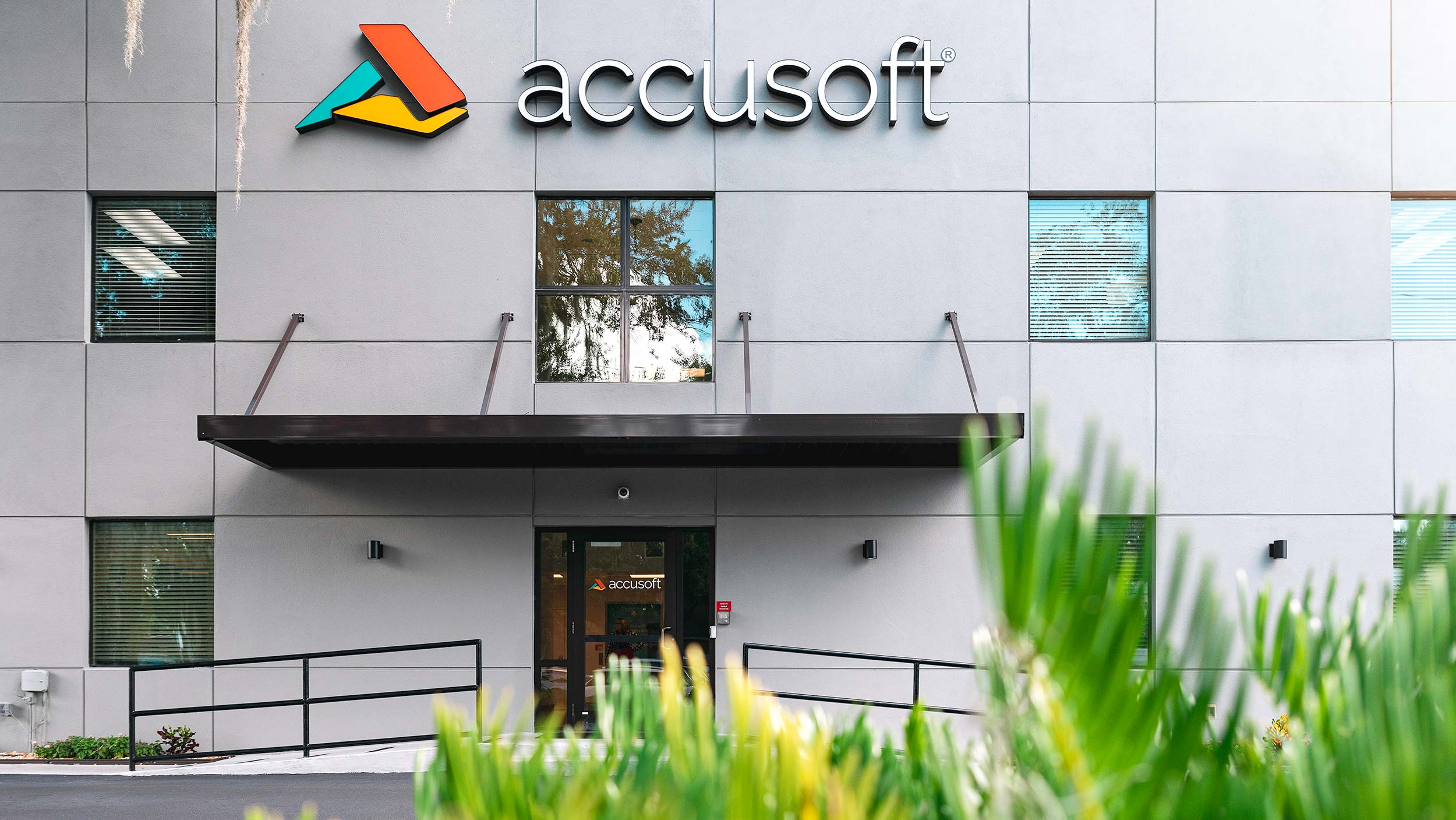 accusoft building exterior with sign