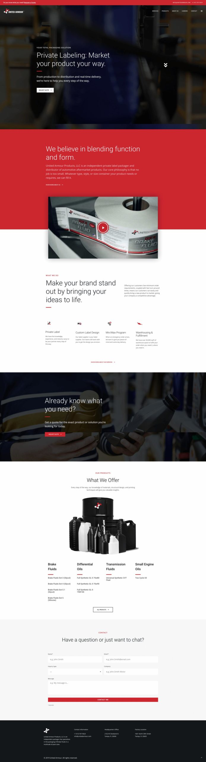 united armour homepage website layout